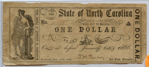 $1 1861  State of North Carolina Obsolete Currency Bank Note Bill Raleigh signed