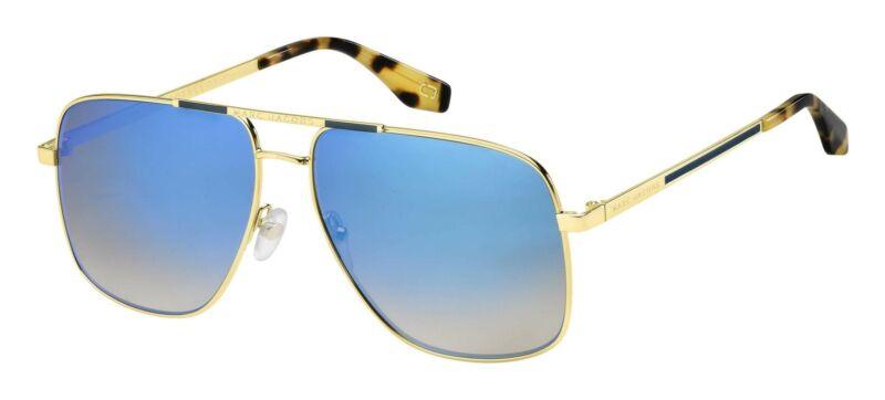 MARC JACOBS Gold/ Grey Shaded Blue Mirror 60mm Sunglasses MARC 387/S 0C9B KM