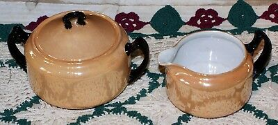 Vintage Gold Colored With Black Handles China Sugar Bowl & CreamerMade In Japan