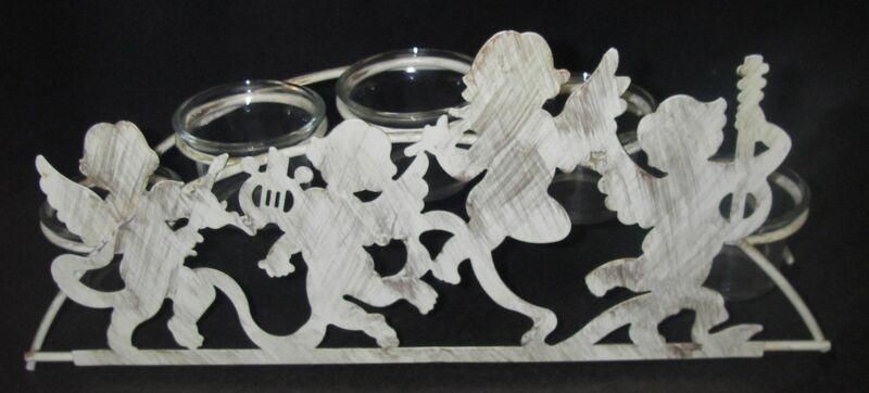 Mythical Cherubs/Fairies CANDLE HOLDER 5 Glass/Metal Votive Fantasy
