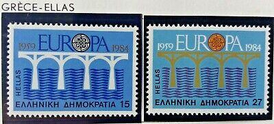 2 X Timbre Stamp Grèce Ellas Greece 1984 Neufs YT 1533 1534 EUROPA CEPT