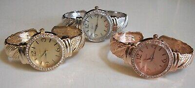 Women designer look rhinestone assorted finish bangle cuff fashion dressy watch Look Fashion Cuff Watch