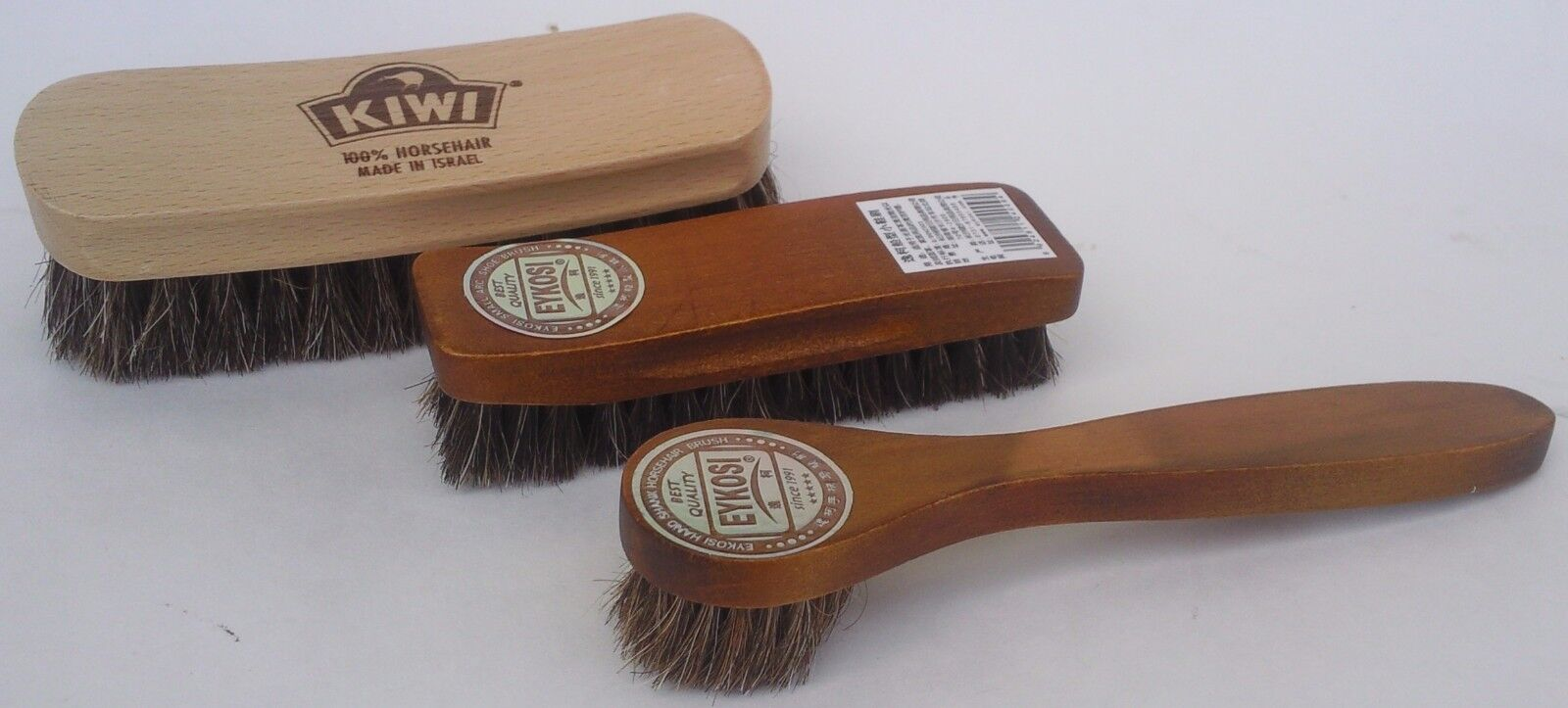 Photo SHOE SHINE BRUSHES & POLISH DAUBER 100% Horsehair Kiwi Eykosi SELECT: Brush