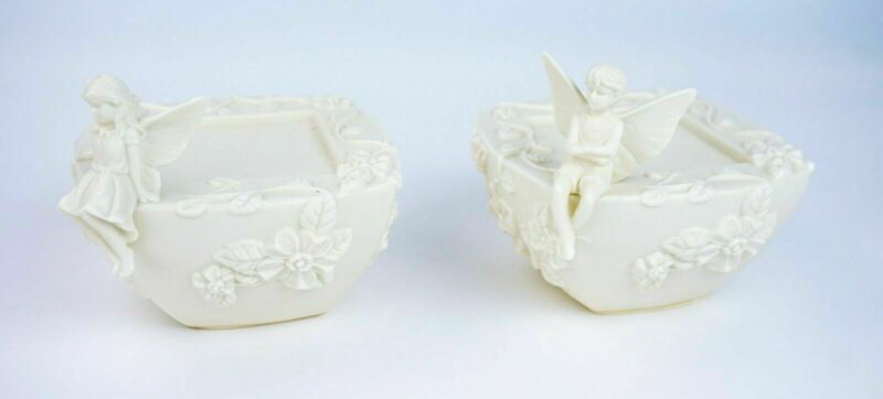 (2) PORCELAIN FAIRY CANDLE HOLDERS - LOT 2835