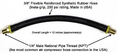 """12-inch Short Air Compressor Hose: 1/4"""" Male NPT To 1/4"""" Male NPT Connections"""