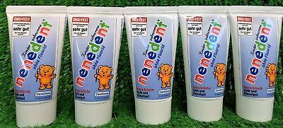 5,56€/L) 5x NENEDENT Kinderzahncreme OHNE Fluorid Kinder Zahnpasta 50g Versand0€