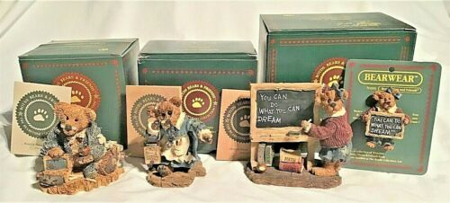 BOYDS BEARS LOT OF 3 TEACHER FIGURINES & 1 PIN WILSON, MS. BRUIN, MS. APPLEBY