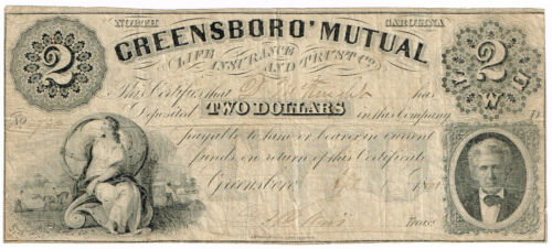 NC Civil War Greensboro Mutual $2