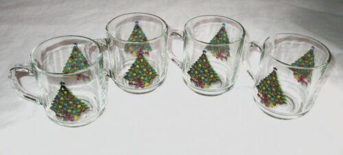 Set 4 Vintage Luminarc Glass Christmas Mugs Coffee Christmas Trees