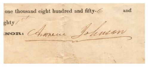 Andrew Johnson - Document Signed - 17th US President Following Lincoln