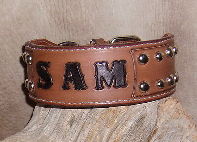 """Quality Custom Stitched + Lined 2"""" Leather Dog Collar,  Name + Spots Studs. G&E"""