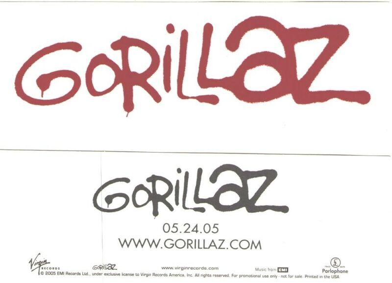 GORILLAZ 2005 Virgin Records promotional sticker MINT NEW old stock Damon Albarn