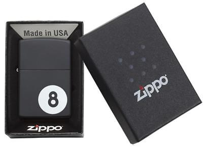 Zippo 8 Ball Snooker / Pool Windproof Lighter - Black Matte - 28432 + Gift Box