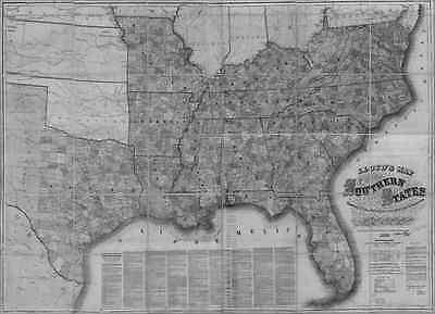 US CONFEDERATE STATES 1862 MO MAP Kirksville Kirkwood Ladue Lebanon Lees Summit