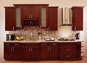 Villa Cherry Wood Kitchen Cabinets, Cherry Stained Maple, Group Sale AAA  KCVC21