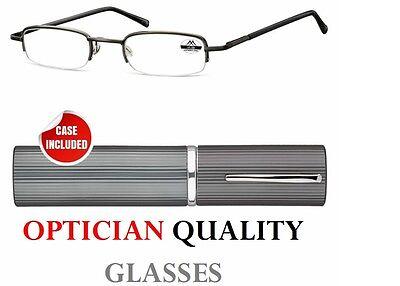 +3.00 +3 SLIM POCKET RIMLESS Reading Glasses mens ladies + tube case + new UK