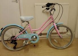 Girls Bicycle, Vintage Style, Pink & Blue, 15 Inch Wheels