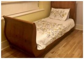 Solid French Oak Single Sleigh Bed Frame
