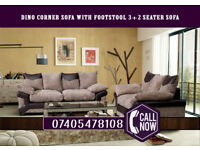 Cheapest Price- Brand New Jumbo Cord Dino Corner Sofa With Footstool or 3 Seater + 2 Seater Sofa