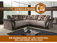 NEW AMAZING COMFORT - LUXURIOUS NEW SHANNON CORNER OR 3+2 SEATER SOFA, DUAL ARM CORNER, SWIVEL CHAIR