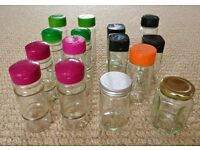 15 Empty Glass Herb / Spice Jars / Storage Pots with Hinged Lids