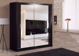 Brand New Berlin 2 Door Sliding Wardrobe Full Mirror, Shelves, Hanging Rails High Quality