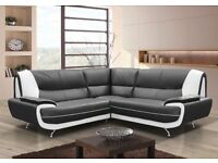 BRAND NEW PALERMO FAUX LEATHER CORNER SOFA IN BLACK/WHITE, BLACK/RED AND BROWN/CREAM