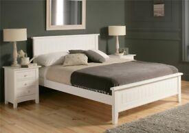 New England Double Wooden Bed Frame, Elegant White Finish