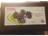 York Fitness York 20kg Cast Iron Dumbell SetBlack Spinlock Robust Brown Box