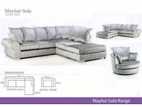 BRAND NEW MAYFAIR CRUSHED VELVET corner SOFA
