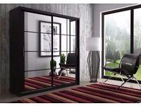 === BLACK WHITE AND WALNUT FINISH!! === BRAND NEW BERLIN 2 DOOR SLIDING WARDROBE WITH FULL MIRROR -