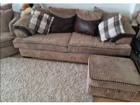 Light Brown Cord Sofa, Cuddle Chair & Footstool