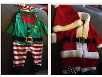 Newborn baby Christmas outfits dress up Santa and elf