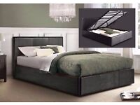 BRAND NEW! DOUBLE OR SMALL DOUBLE LEATHER STORAGE BED WITH SEMI ORTHOPAEDIC MATTRESS OTTOMAN BED