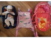 Baby Annabelle, Winnie the Pooh Pram, Carrycot and Pink pushchair,