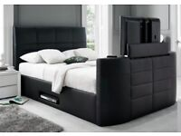 *ELECTRIC DOUBLE STORAGE LEATHER TV BED FRAME £299*SALE*