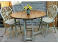 Rustic vintage shabby chic gate leg oval drop leaf table + 2 wheelback chairs