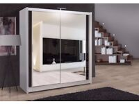 🔥💖120 150 180 203 or 250 CM WIDE❤New Full Mirror 2 Door Berlin Sliding Wardrobe w Shelves, Hanging