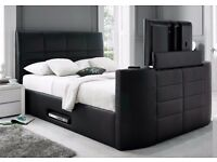 MODERN DOUBLE LEATHER TV BED + MEMMORY POCKET MATTRESS + DELIVERY