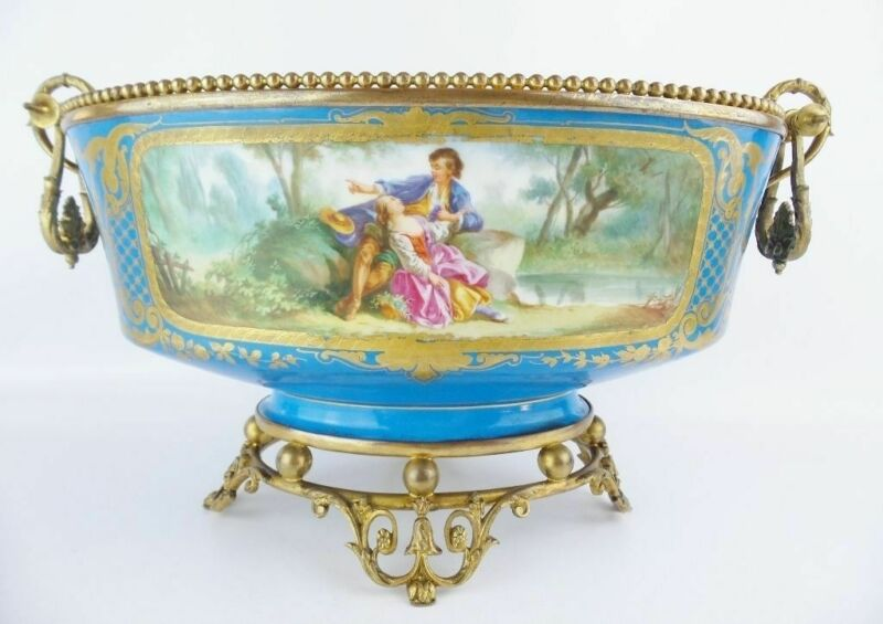 "16"" Antique Porcelain Center Bowl ""Exquisite Bronze Ormolu"""