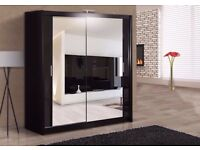 "SUPER OFFER ""BRAND NEW - BERLIN 2 DOOR SLIDING WARDROBE WITH FULL MIRROR -EXPRESS DELIVERY"
