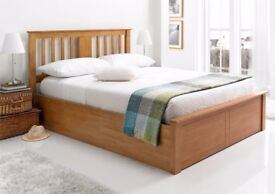 Order Now Supreme Quality** New Malmo Oak Finish Wooden Ottoman Storage Bed in Double and King Size