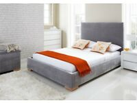 Superking Upholstered Ottoman Storage Bed Windsor- Westbury Silver. BRAND NEW.
