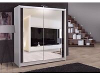 BRAND NEW -GERMAN QUALITY- CHICAGO 2 DOOR SLIDING WARDROBE WITH FULLY MIRRORED IN WHITE AND WAULNET