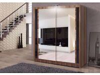 --Black white and walnut Colours-- Berlin 2 DOOR FULL MIRROR GERMAN SLIDING DOOR WARDROBE -
