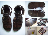 OFFICE SHOES HAVIANIAS Leather Holiday Gladiator Ancient Greek Sandals Brown Black Flipflops NEW