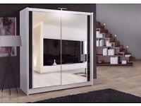 "❤Superb Finish❤Flat 70% OFF SALE❤ Full Mirror 2 Door Sliding Wardrobe w/ Shelves, Hanging ""4 colors"""