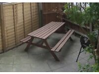 Picnic table with attached benches, seats 6 - 50 GBP