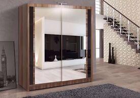 BRAND-New White Wardrobe With Sliding Doors Fully Mirrored Cheap Price
