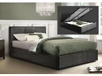 BRAND NEW Kingsize / Double Black Leather Ottoman Storage Bed with 5ft Semi Orthopaedic Mattress